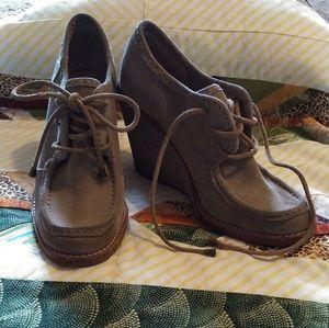Frye Lace Caroline bootie wedge shoes